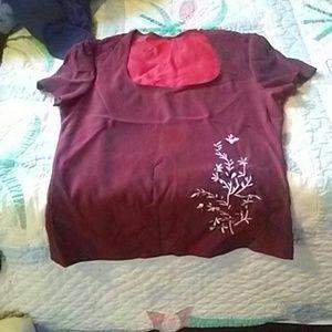 Tops - Red silk shirt